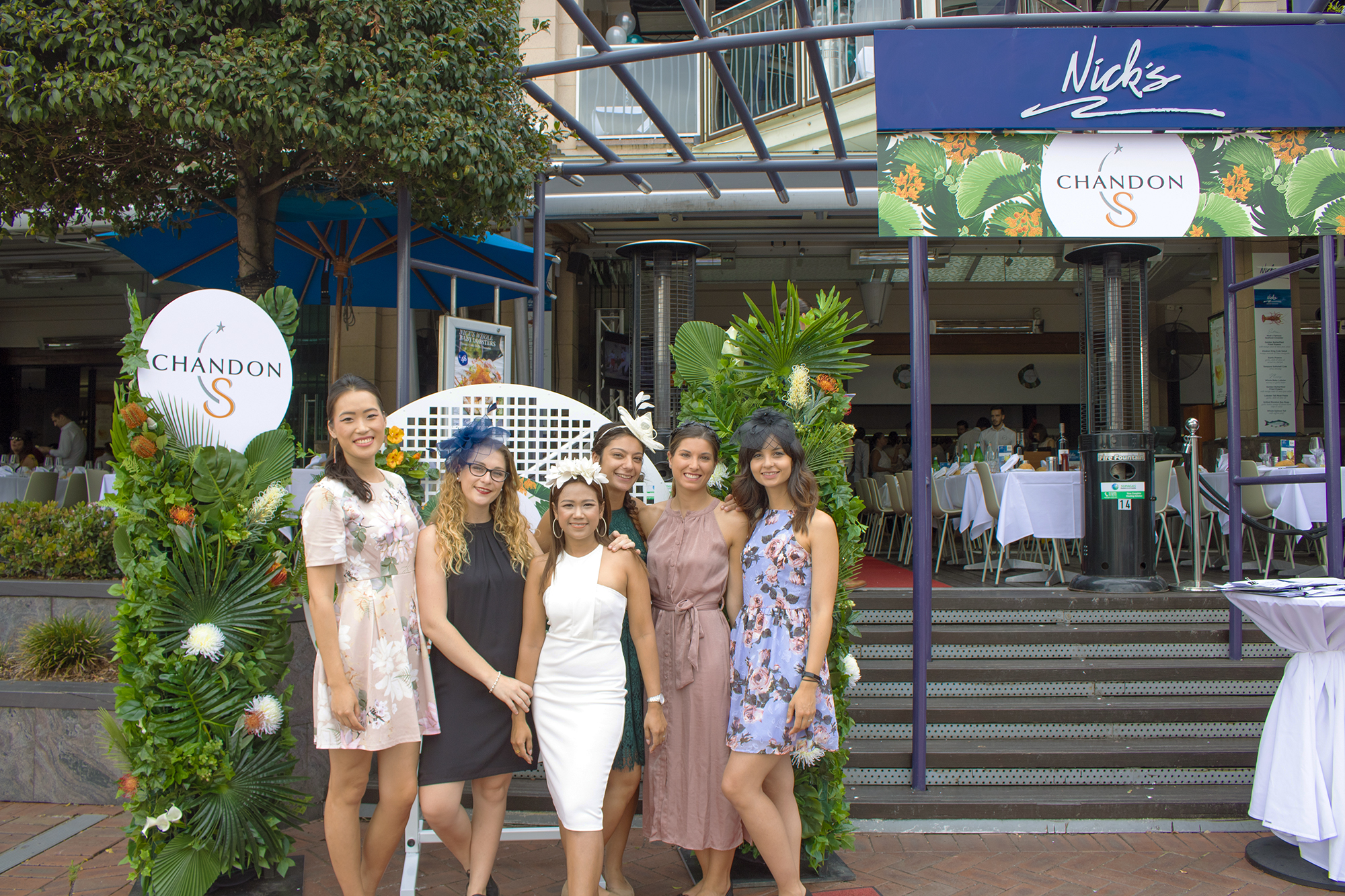 Melbourne Cup 2018 lady guests at floral photo booth